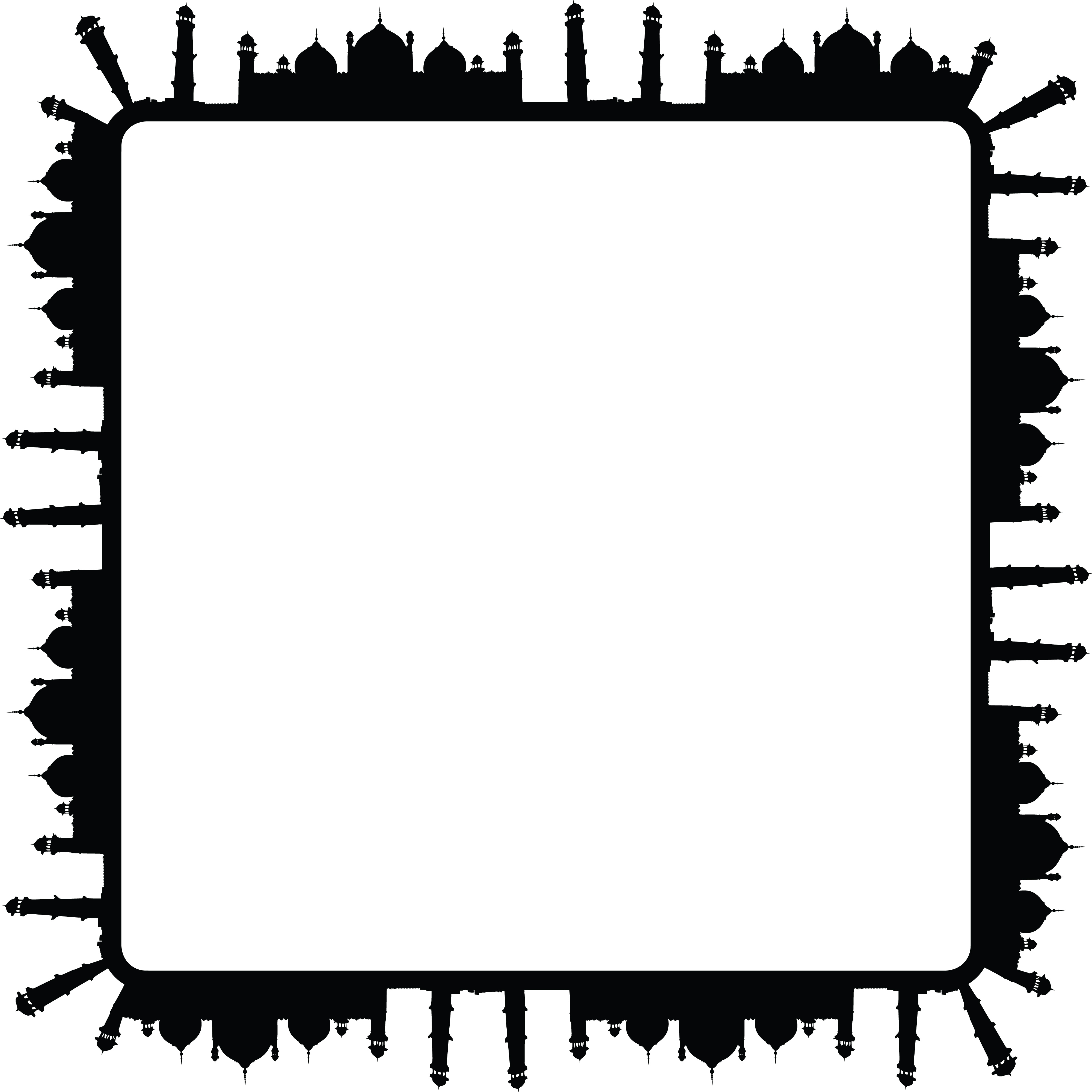 free clipart of a square frame of mosques in black and white