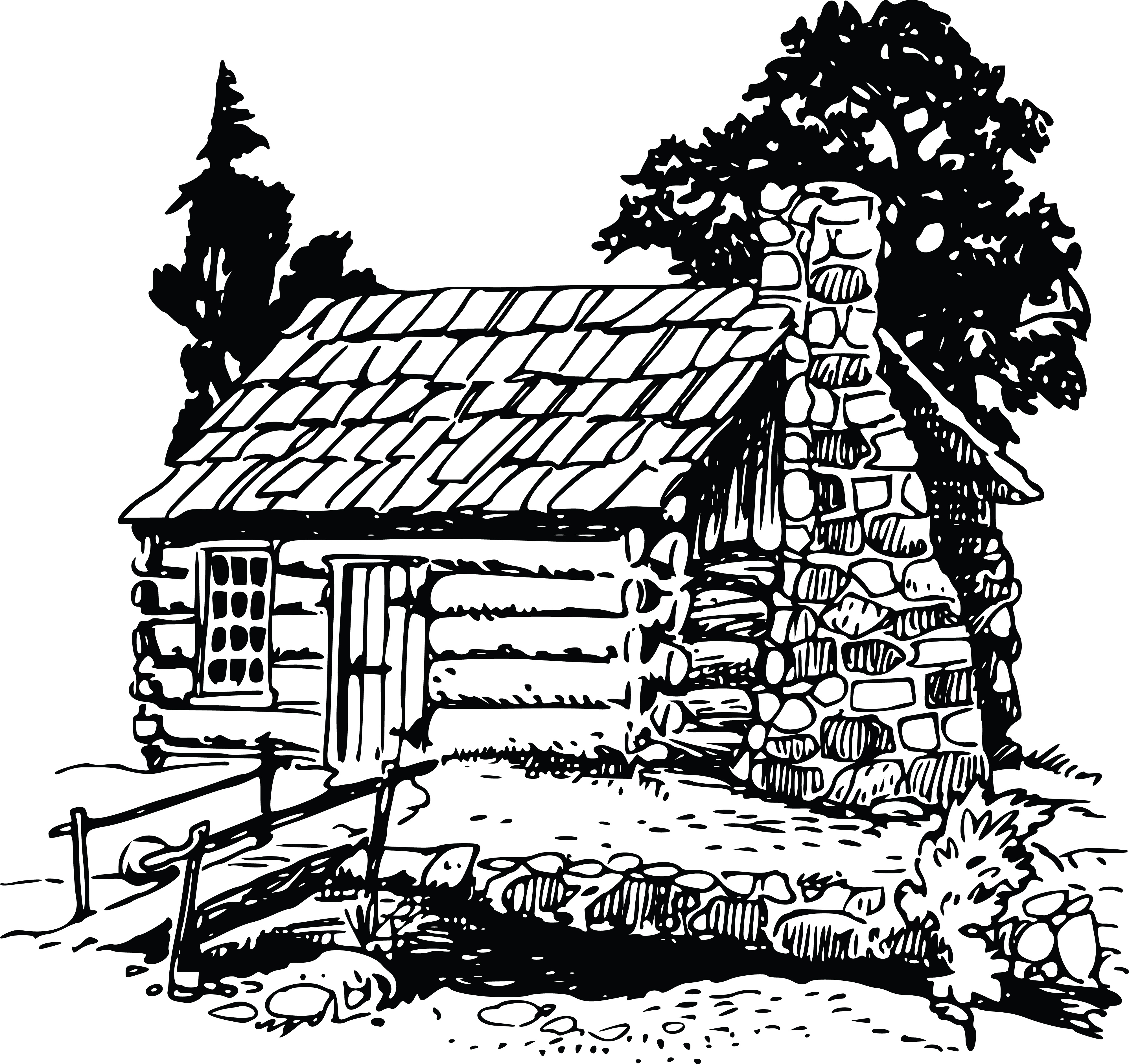Free Clipart Of A Rustic Log Cabin 00011067