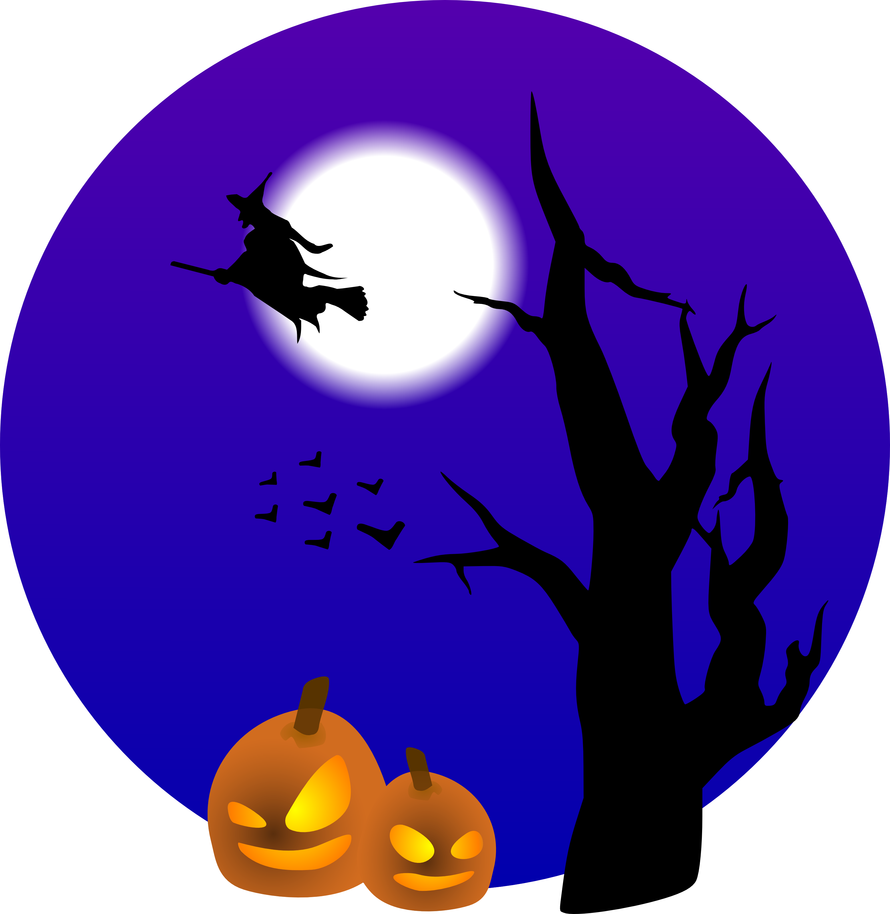 flying witch and pumpkins free halloween vector clipart illustration 0001112 - Flying Halloween Witch