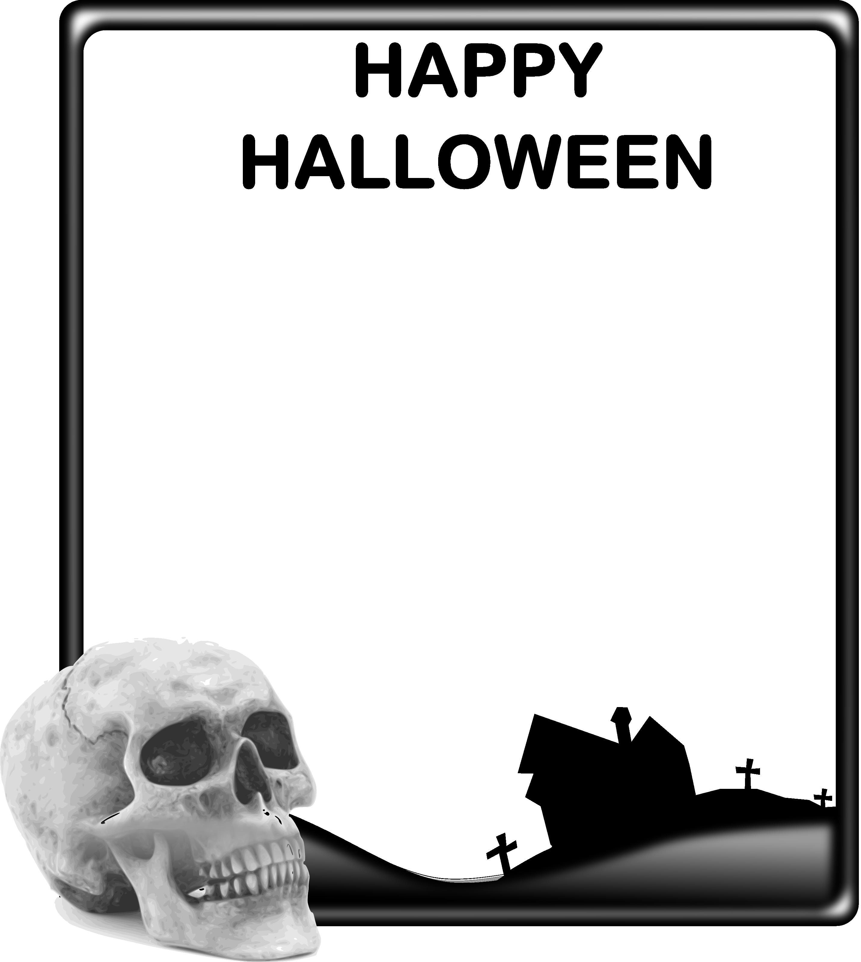 Skull And Haunted House Halloween Frame - Free Halloween Vector ...