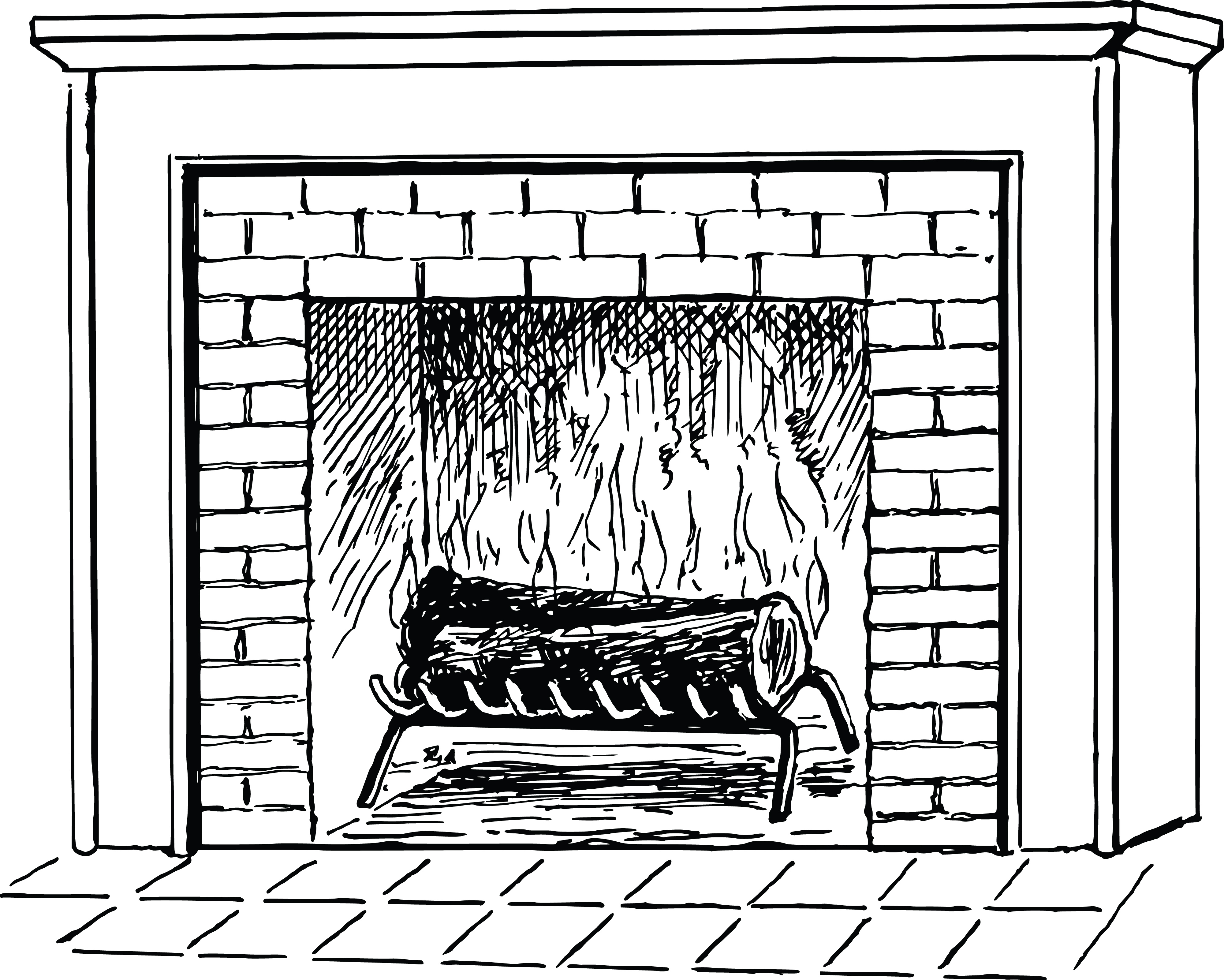 Free Clipart Of A Log Burning In A Fireplace