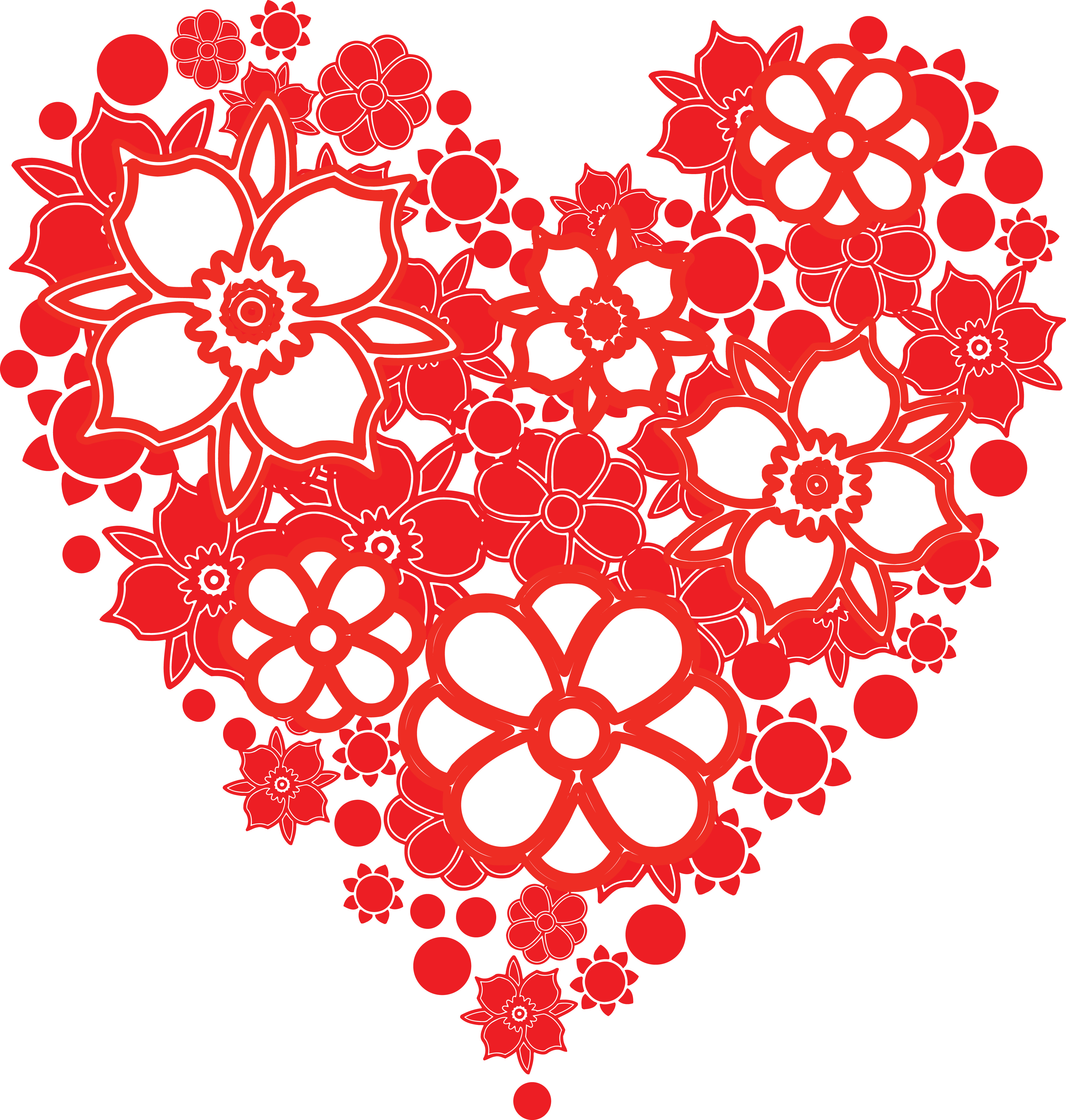 Free Clipart Of A love heart with flowers