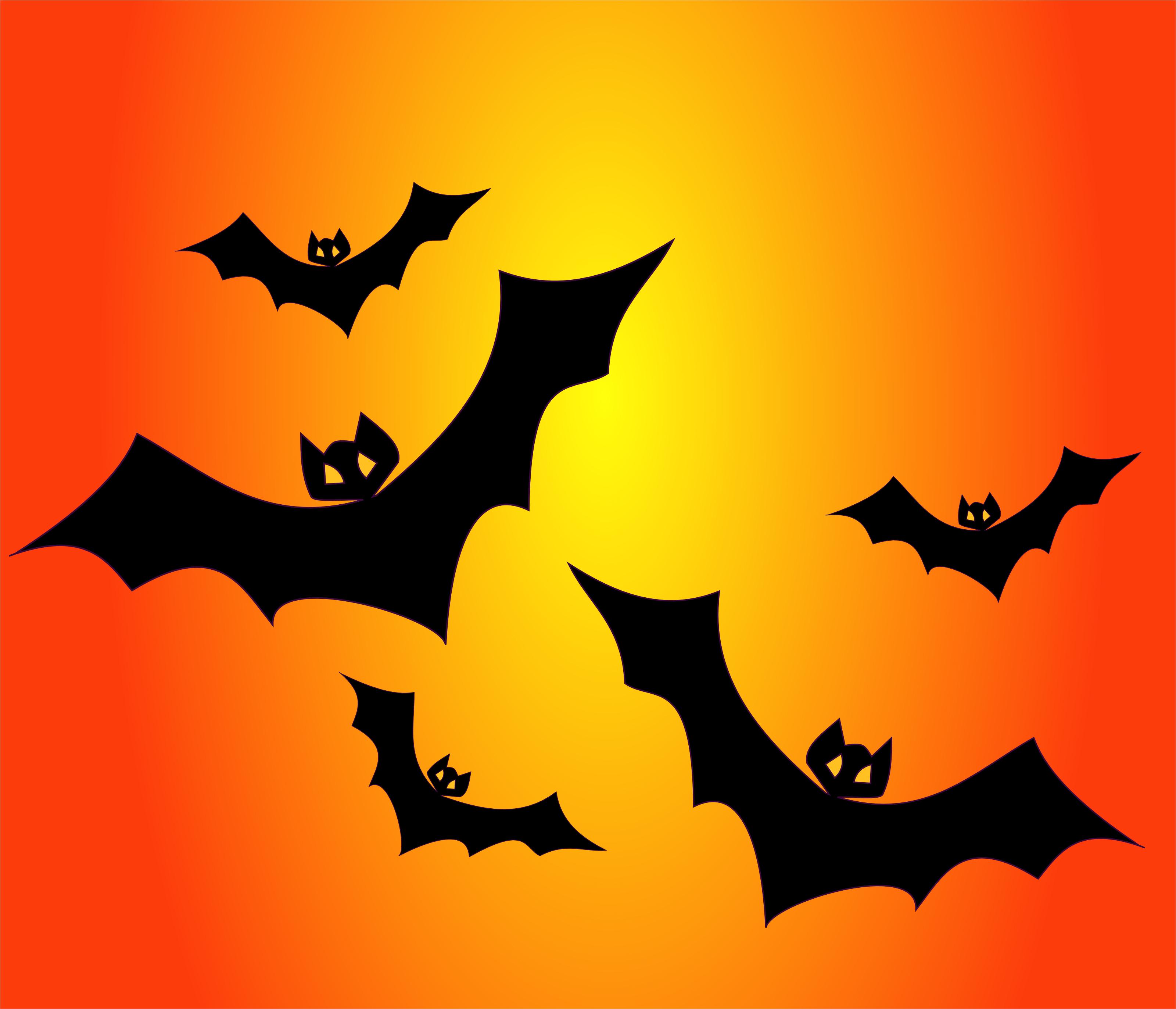 bats on orange free halloween vector clipart illustration - Halloween Bat Pics