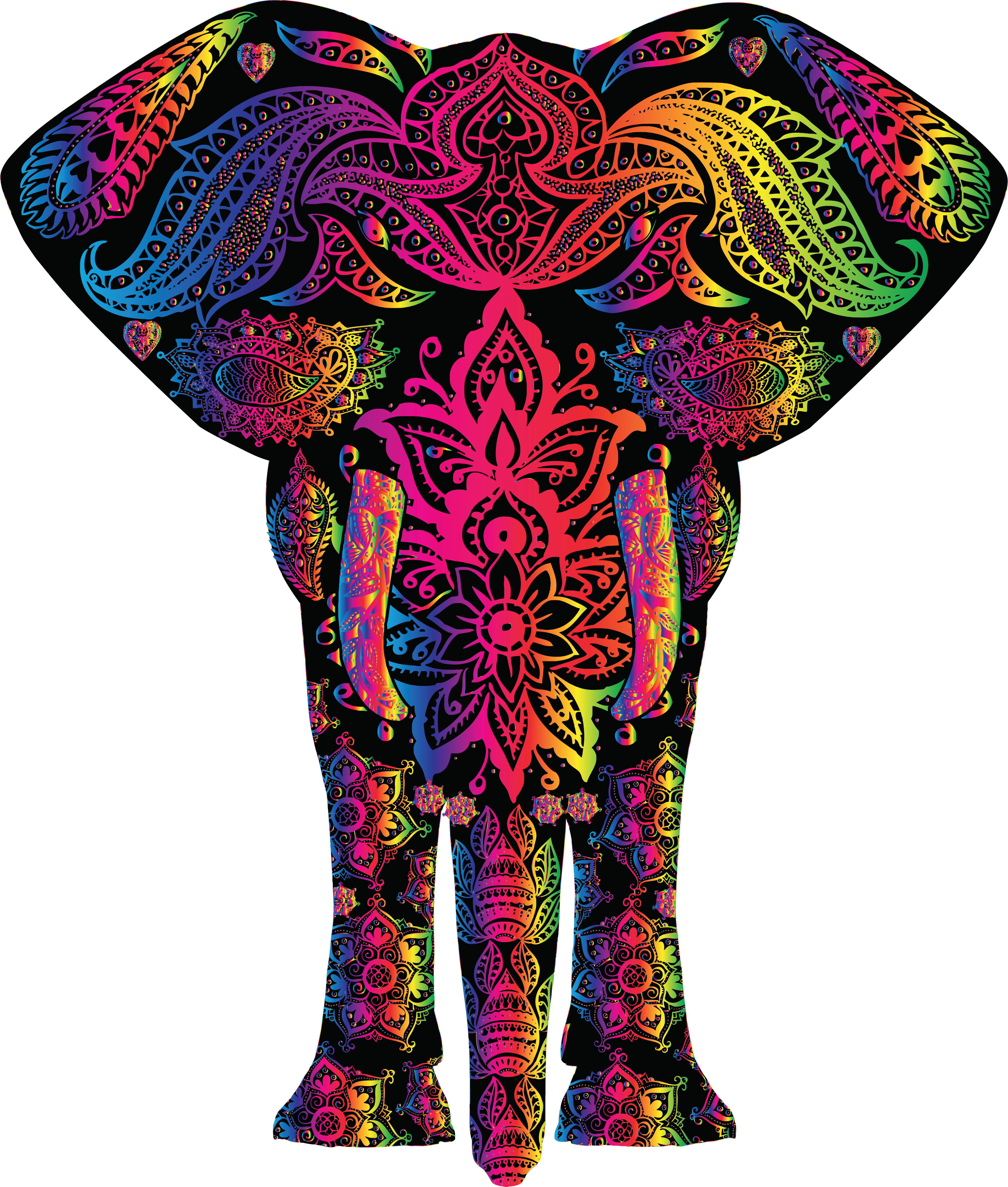 clipart of a colorful elephant