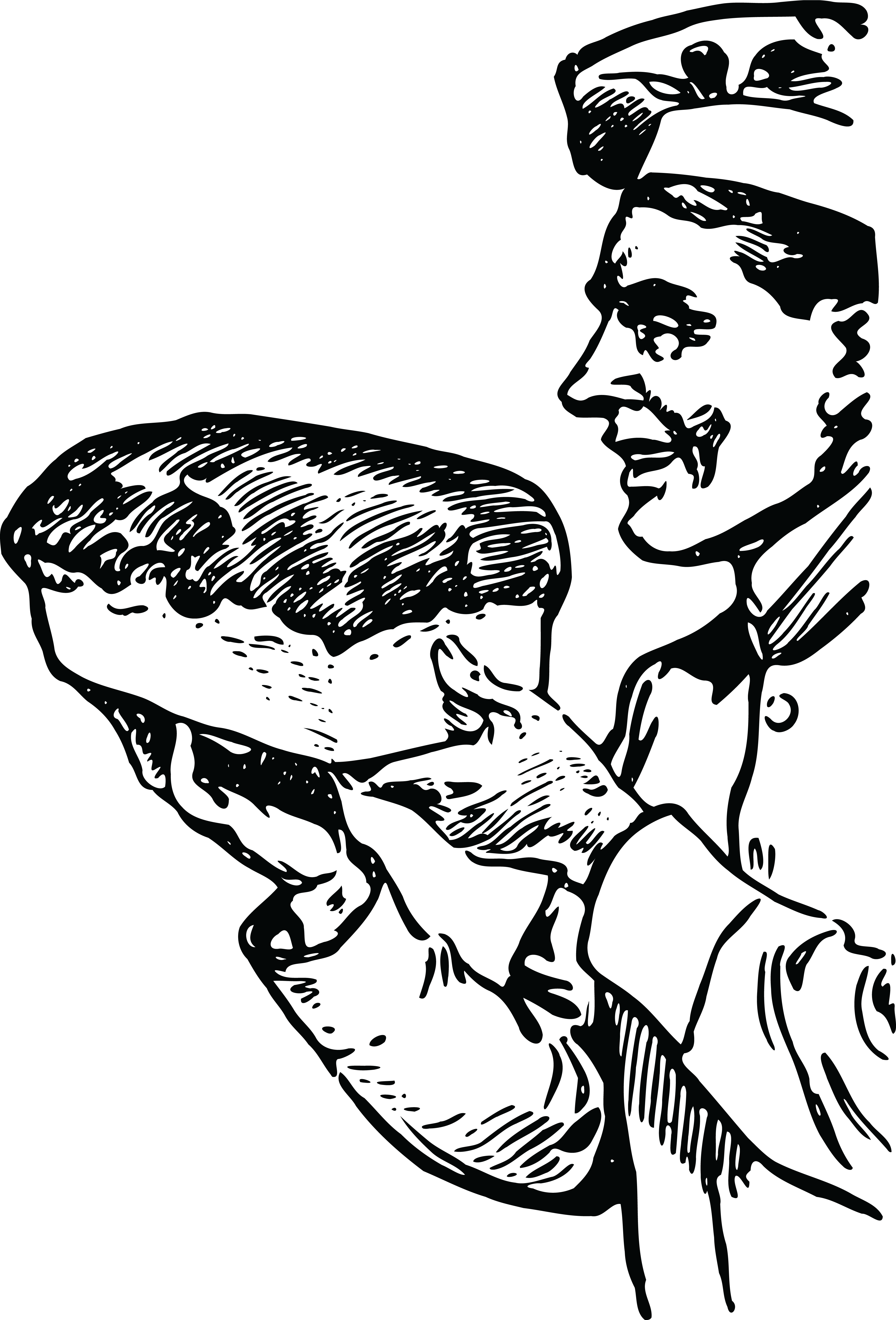 Free Clipart Of A Baker Holding Fresh Bread