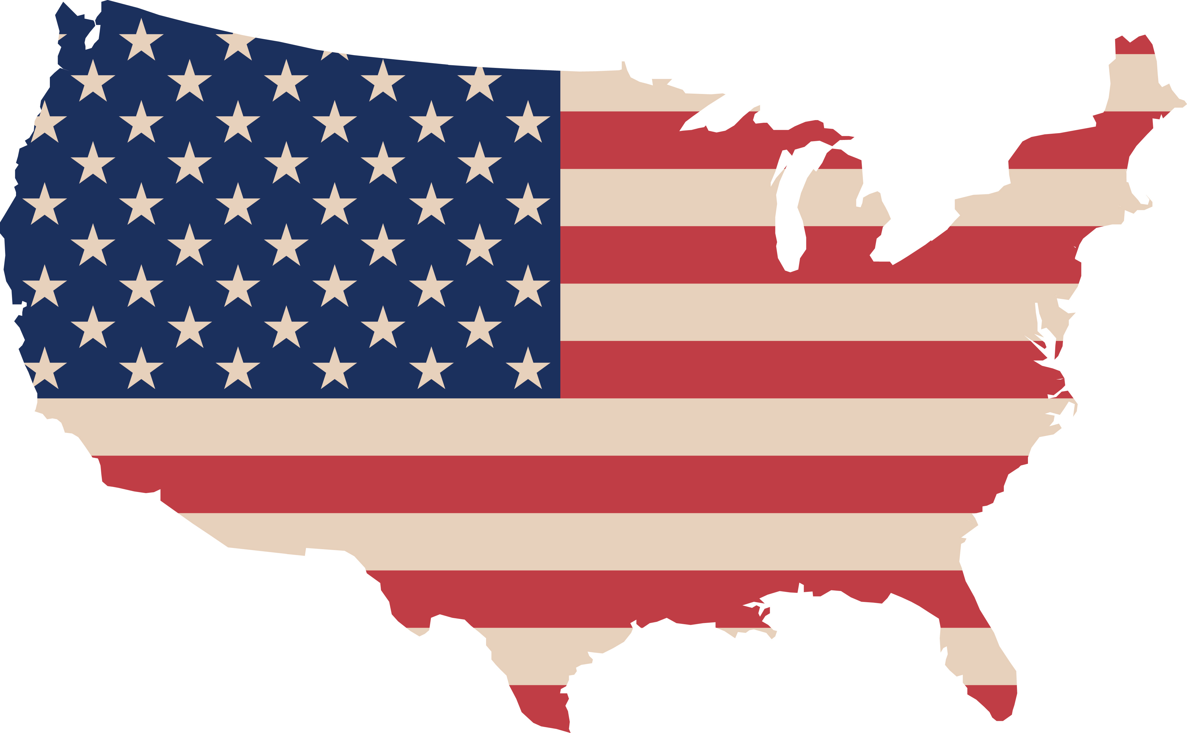 Map Of America Clipart.Free Clipart Of A Map Of America With A Flag