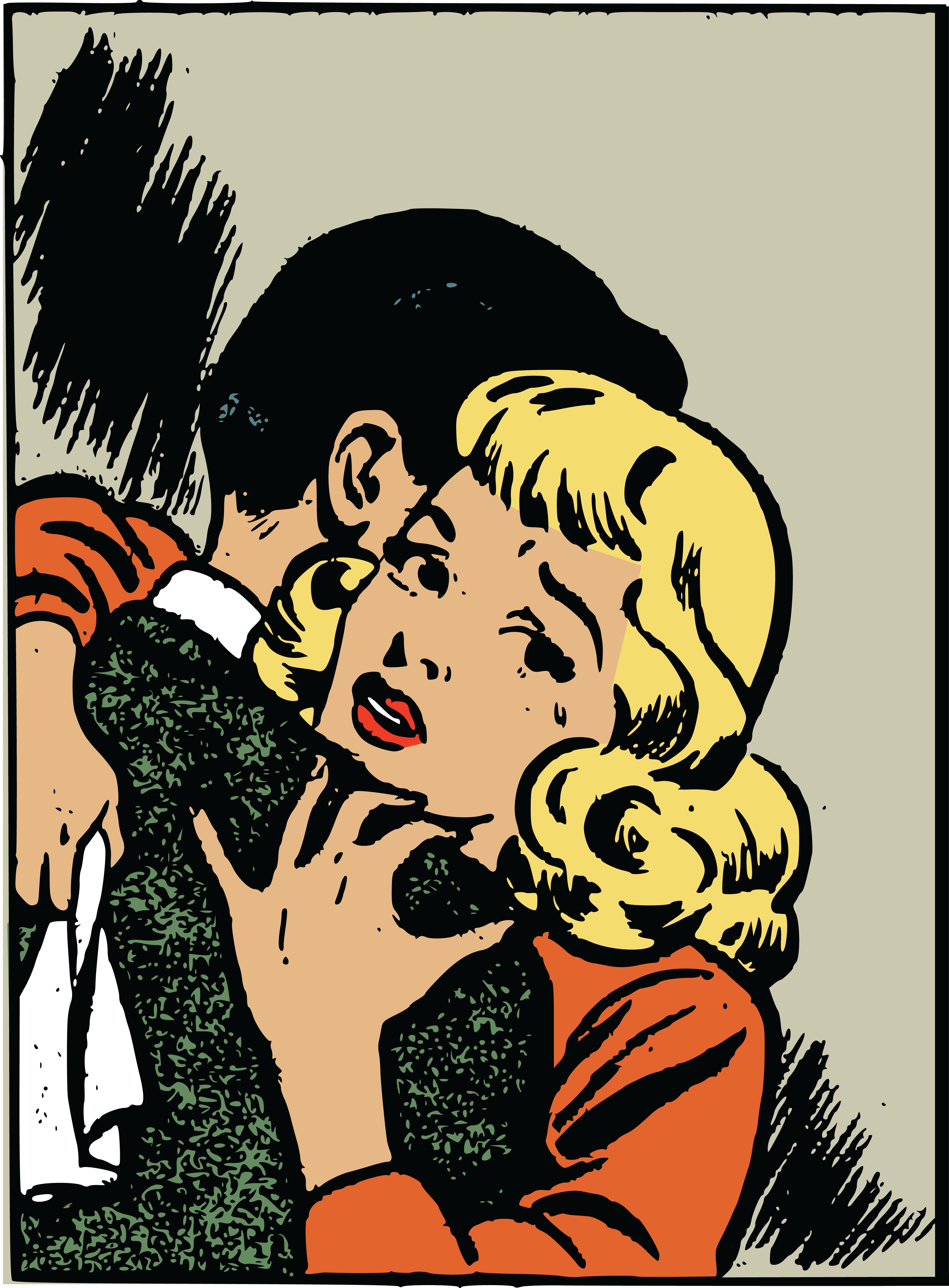 free clipart of a pop art comic styled couple hugging