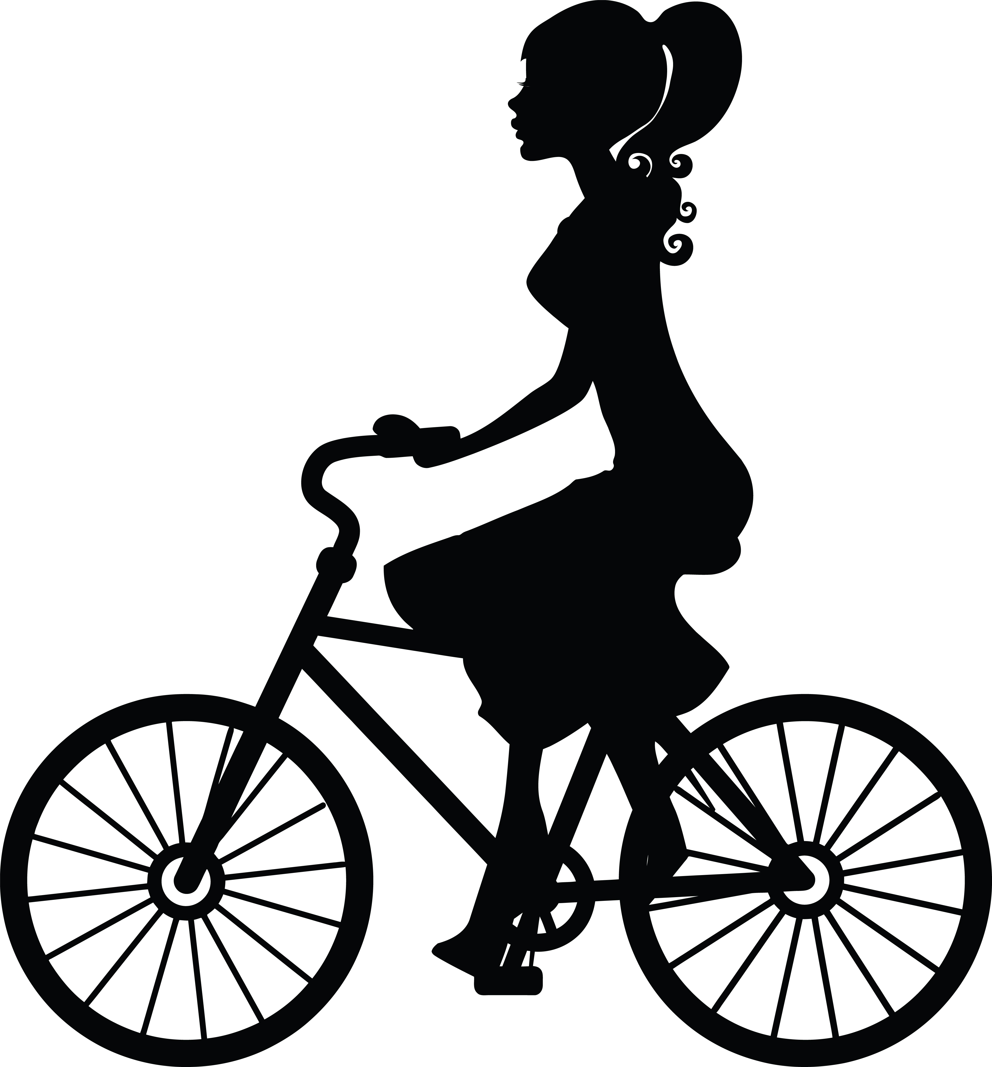 Clipart Of A woman riding a bicycle for Bicycle Clipart Black And White  29jwn