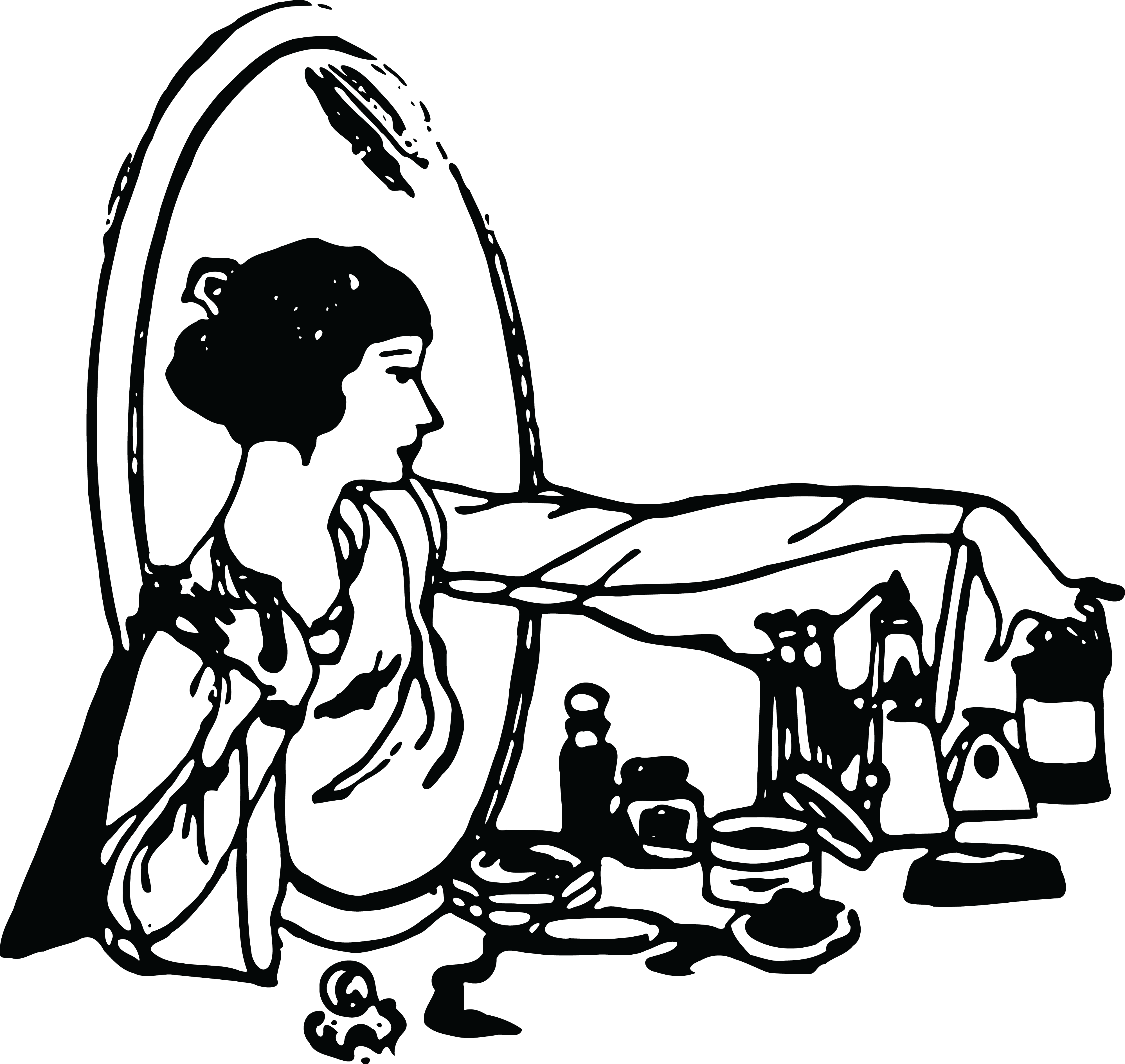 Image Coco S Poison Bow Png: Free Clipart Of A Retro Woman At A Vanity Table