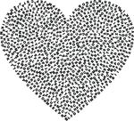Free Clipart Of A Heart Made Of Black And White Letters