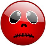 Silenced Red Smiley Free Halloween Vector Clipart Illustration