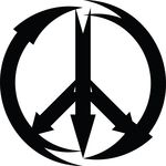 Free Clipart Of A Black And White Arrow Peace Symbol