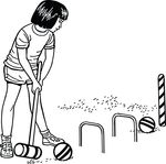 Free Clipart Of A Girl Playing Croquet