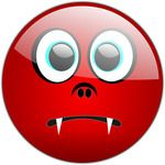 Red Fanged Emoticon Free Halloween Vector Clipart Illustration