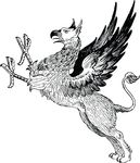 Free Clipart Of A Black And White Griffin