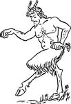 Free Clipart Of A Faun Marching
