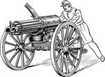 Free Clipart Of A Soldier Operating Artillery