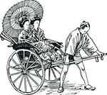 Free Clipart Of A Man Pulling Japanese Ladies In A Rickshaw