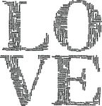 Free Clipart Of A Black And White Love Design