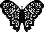 Free Clipart Of A Black And White Floral Butterfly