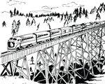 Free Clipart Of A Retro Black And White Train Crossing A Trestle