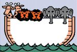 Free Clipart Of A Noahs Ark Beagle Screen With Giraffes Lions And Elephants