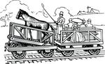 Free Clipart Of A Retro Black And White Horse On A Train Treadmill Transporting People