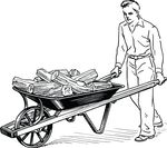 Free Clipart Of A Retro Black And White Man Pushing Firewood In A Wheelbarrow
