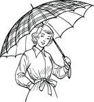 Free Clipart Of A Retro Black And White Woman With An Umbrella