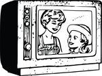 Free Clipart Of A Retro Black And White Mother And Daughter On Tv