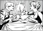 Free Clipart Of A Retro Couple Eating Dinner On A Date Black And White