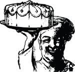 Free Clipart Of A Baker Holding Up A Cake
