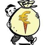 Free Clipart Of A Man Carrying A Euro Carrot Money Bag