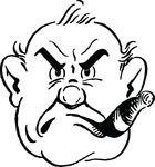 Grumpy Man Smoking Cigar Free Retro Clipart Illustration