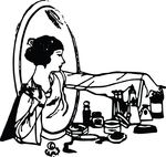 Free Clipart Of A Retro Woman At A Vanity Table
