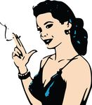 Free Clipart Of A Retro Woman Smoking A Cigarette