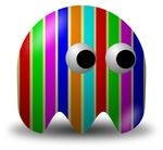 Colorful Stripes Composited Over An Avatar Character Free Vector Clipart Illustration