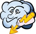 Free Clipart Of A Cloud Character Holding A Lightning Bolt