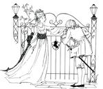 Free Clipart Of A Woman And Man At A Gate