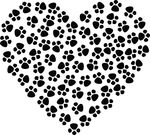 Free Clipart Of A Paw Print Heart