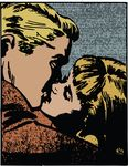 Free Clipart Of A Pop Art Comic Styled Couple Kissing