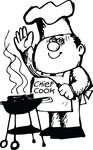 Free Clipart Of A Chef Waving At A Bbq