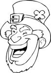 Free Clipart Of A Lineart Black And White Laughing Leprechaun Face