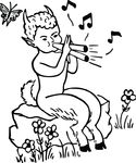 Free Clipart Of A Faun Playing Music
