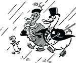 Free Clipart Of A Cute Duck Family In The Rain