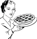 Free Clipart Of A Woman With A Pie