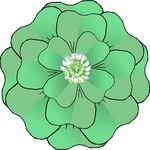 Free Clipart Of A St Patricks Day Green Four Leaf Clover Flower With A Blossom