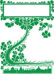Free Clipart Of A St Patricks Day Vintage Retro Clover Shamrock Vine Over A City Skyline