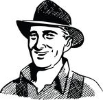 Free Clipart Of A Retro Happy Farmer