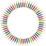 Free Clipart Of A Frame Of Colored Pencils